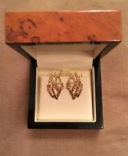 Unique Vintage 9ct Yellow Gold Open Bark Design Pearl Clip-On Earrings -Stunning