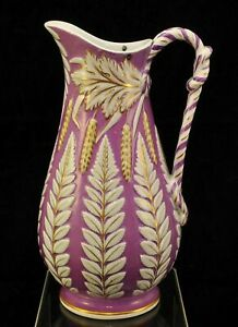 William Brownfield Molded Purple Polychrome Fern Staffordshire Pitcher 1850