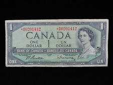 1954 $1 Dollar Bank of Canada Banknote Replacement *B/M 0201412 F+ Grade