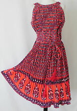 Vtg Jay Morley for Fern Violette Dress Sleeveless Multi-Color Pleated Size L
