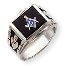 14k White Gold Men's Masonic Ring Y1591M Size 10