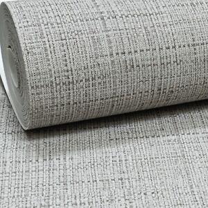 Plain Grey Charcoal Linen Cloth Effect Textured Vinyl Paste the Wall Wallpaper