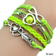 Infinity Love Heart Pearl Friendship Antique Silver Leather Charm Bracelet Hot N Green
