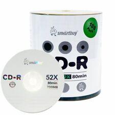 100 Smartbuy CD-R 52X 700MB/80Min Branded Logo Blank Media Recording Disc