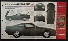 1988-1991 ASTON MARTIN VIRAGE IMP Hot Cars Spec Sheet Folder Brochure RARE