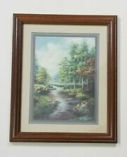 """Home Interiors Framed Wall Decor Creek Pine Trees 16"""" x 13"""" Peaceful Landscape"""
