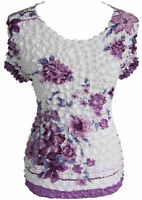 Women's Popcorn Lavender & White Floral Short Sleeve Top Blouse Shirt New w/Tags