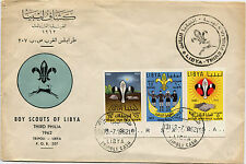 LIBYA, COVER, BOY SCOUT, SCOUTING, THIRD PHILA 1962,  3 STAMPS NOT INDENTED    m