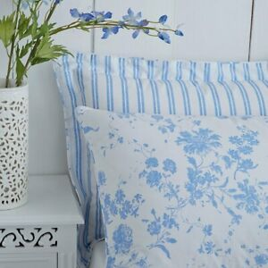 Charlotte Thomas Amelie Blue & White Floral Housewife Pillowcases (Pair)
