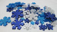 Darice 78 Flatback Acrylic Snowflake Foil Back Gems  Blue & Clear - Asst. Sizes
