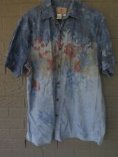 THE TERRITORY AHEAD SHORT SLEEVE CHAMBRAY SHIRT W/ABSTRACT FLORAL PATTERN SIZE L