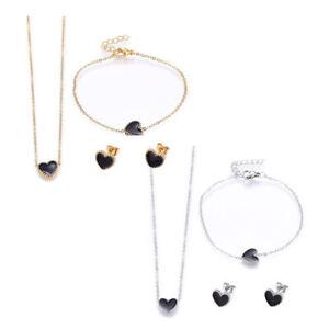 """Stainless Steel Set Pendant Necklace Earrings Bracelets Enamel Heart 17"""" P721"""