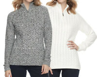New Croft & Barrow Women's 1/4 Zip Textured Sweater Size L, XL MSRP $44