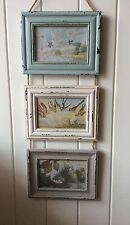 Sass & Belle Delilah Triple Rope Hanging Rectangle Wood Photo Frames Blue Cream
