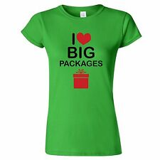 I LOVE BIG PACKAGES XMAS WOMENS T SHIRT FUNNY CHRISTMAS PRESENT GIFT BIRTHDAY