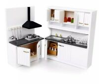 Doll house miniature wooden kitchen furniture set in 1:12 scale