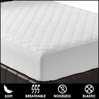 100% Cotton Quilted Mattress Protector Pad 30cm Extra Deep Fitted Mattress Cover