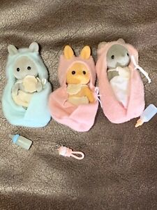 Maple Town Flocked Babies bunny rabbit mouse mice