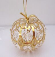 Ornament-Apple- Austrian  Crystals 24K gold plated -18 clear crystals