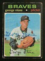 George Stone Braves Signed 1971 Topps baseball card #507 Auto Autograph