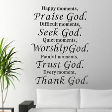 Home PVC Wall Vinyl Decal Quote Sign Christian Praise God DIY Art Sticker Decor