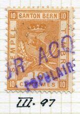 SWITZERLAND;    1890s Canton Bern Tax Stamp fine used Dated cancel 10c.