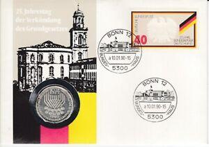 Numisbrief   Deutschland DDR  5 DM   Silber  Grundgesetz  1990
