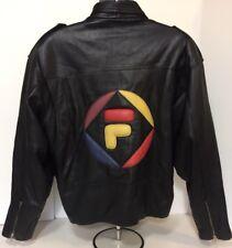 Vintage Fila Embossed Leather Jacket Hip Hop 90's Rare One Of A Kind Big Logo L