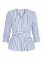 Hobbs Helena Top Blue White Size UK10 RRP79