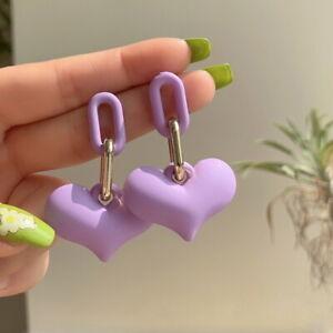 2021 Sweet Acrylic Heart Pendant Drop Earrings Woman Fashion Party Jewelry Gifts