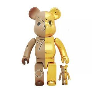 MIHARA YASUHIRO Bearbrick set 400% 100% Be@rbrick Gold Brown Rare Limited Chrome