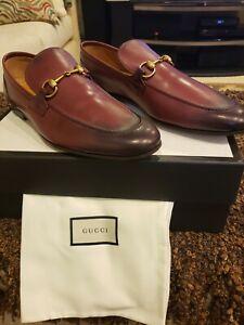 NIB GUCCI Size 11UK/ 12 US JORDAAN Burgundy Degraded Horsebit Loafers Shoes
