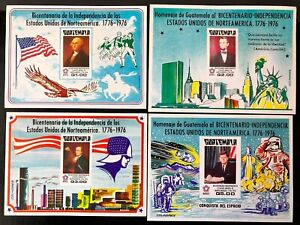 Guatemala #C606a-609a 4 Imperf Sheets of 1 1976 MNH