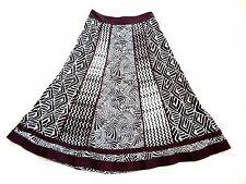 Monsoon Brown & off white aztech print long flared lightweight cotton skirt 8-10