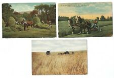 3 Pre-1925 Farming with Horses Postcards