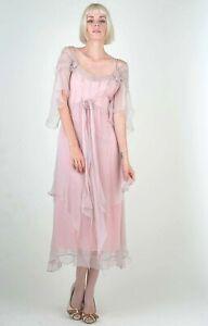 Nataya Pink Formal Dress M Off the shoulder Gatsby Victorian Romantic 40148 NWT