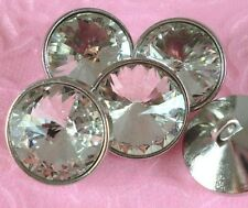 5 Big Sparkling Clear Crystal Rhinestone Silver Shank Buttons #S515