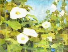 """Russischer Realist Expressionist Öl Leinwand """"Weiße Blumen"""" 45x35 cm"""