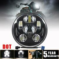 Black 5-3/4 5.75 LED Headlight Hi-lo H4 DOT Fit for Harley Sportster XL 1200 883