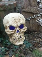 Excellent Condition Large Color Changing Metal Skull Prop Halloween Decoration