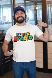 Mens ORGANIC T-Shirt SUPER DADDIO Funny Dad Birthday Daddy Father Christmas Gift