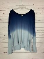 Free People We The Free Women's M Medium Navy Blue Ombre Long Sleeve Top Shirt