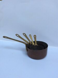 Set Of 5 Miniature Graduated Copper Pans With Brass Handles