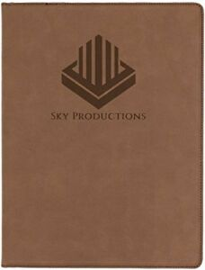 Portfolio,Dark Brown Laser able Custom Leatherette Notepad Engraved with, Logo