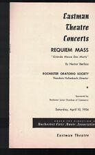 Requiem Mass Rochester Oratorio Society 1954 Program Eastman Theatre Rochester