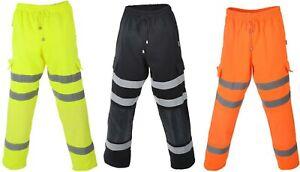 Hi Vis Jogging Bottoms Trousers Pants Reflective Work Wear Pockets Joggers