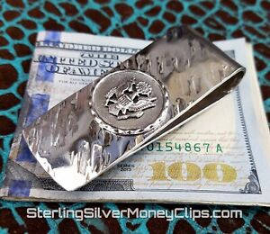 57g Phantom USA GREAT SEAL Hammered 925 Argentium Sterling Silver Money Clip