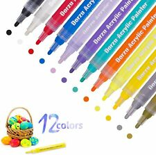 Marcador de Acrílico de la pluma Pen Set dorzu con 12 Colores Marcador De Pintura Acrílica Impermeable