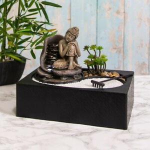 Indoor Water Fountain with LED Light Thinking Buddha Zen Meditation Home Decor