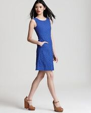 Size 12 DVF Blue Carpreena Ring Stitch Dress NWT